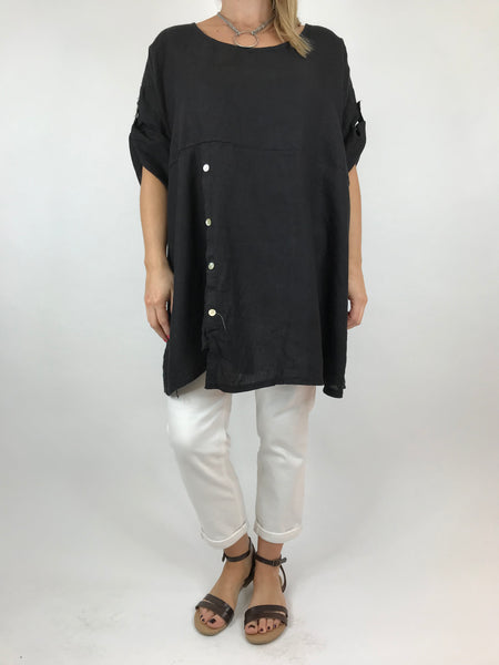 Lagenlook Lydia button Top in Black. code 5711