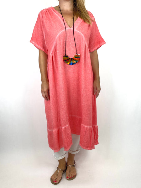 Lagenlook Horton Washed V-Neck top in Coral. code 10436