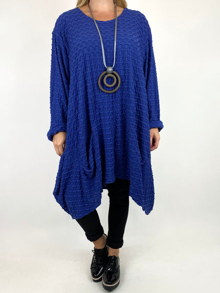 Lagenlook lottie Textured Large Waffle Parachute Hem Tunic In Royal Blue. code 91122 - Lagenlook Clothing UK