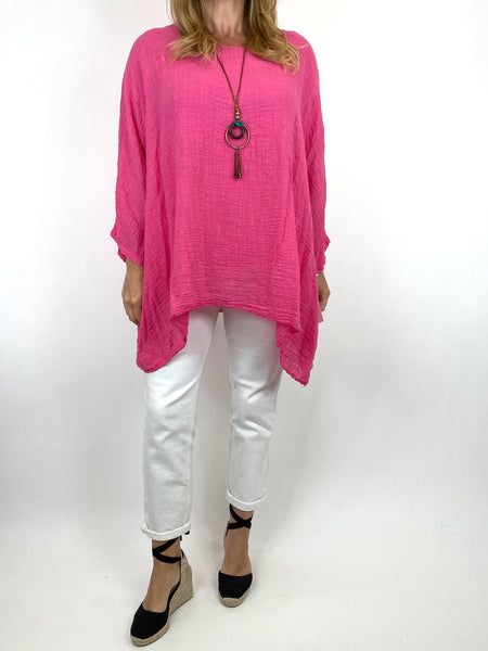 Lagenlook Nina necklace top Regular size in Fuchsia. code 9066 - Lagenlook Clothing UK