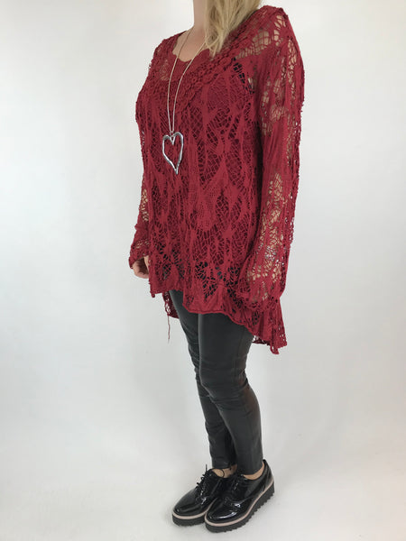 Lagenlook Long Sleeve Net Top 2 Piece in Wine. code 7426