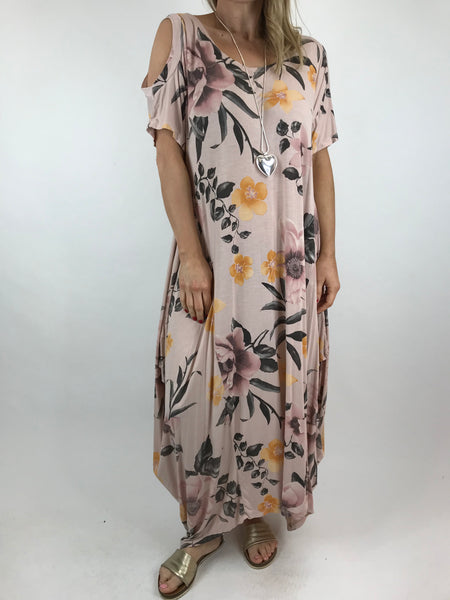 Lagenlook Flower Cold shoulder Tunic in Pale Pink.code 41026