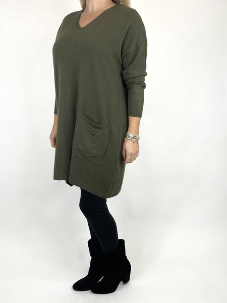 Lagenlook Jute Pocket V-neck Jumper in Khaki. code 2712 - Lagenlook Clothing UK