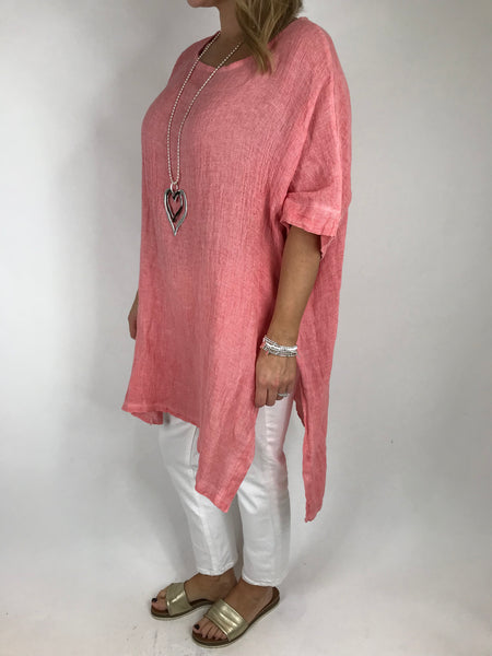 Lagenlook Alto Linen Top in Coral. code 5773