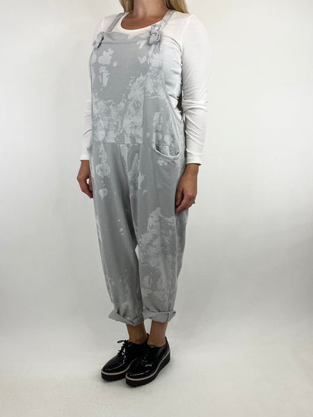 Lagenlook Dakota Tye-dye Made in Italy Dungarees in Light Grey.code 6777TD - Lagenlook Clothing UK