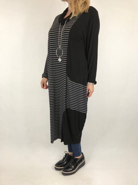 Lagenlook Stripe Cowl Neck in Black. code 5982