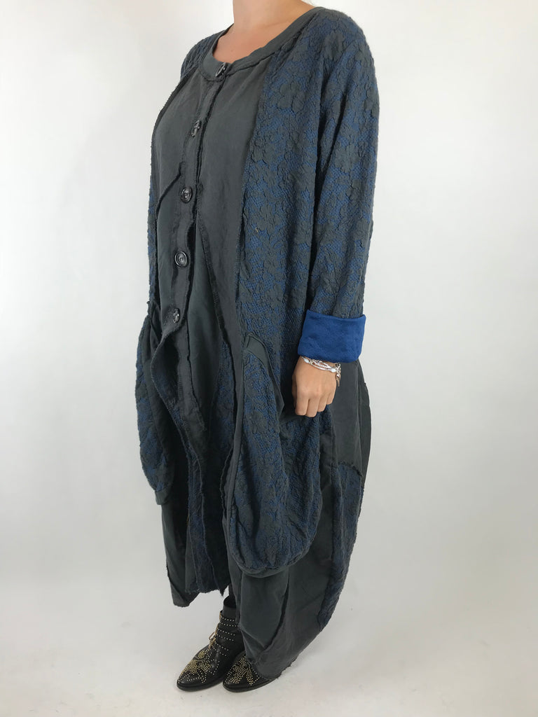 Lagenlook Made In Italy Damask Jacket in Charcoal. code 5463