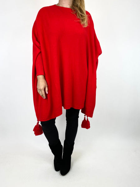 Lagenlook Ella Tassel Jumper in Red. code 2700 - Lagenlook Clothing UK