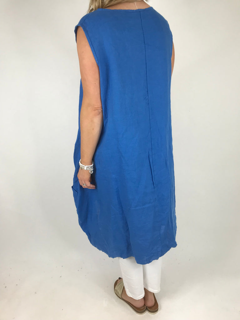 Lagenlook Side Button Linen Top in Royal Blue .code 5843