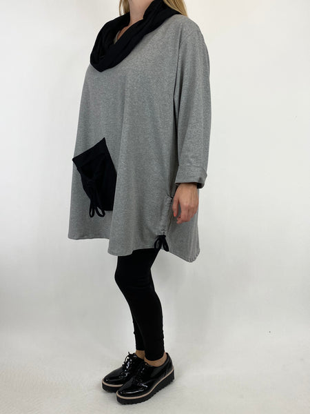 Lagenlook Neave Snood Pocket Top in Grey. code 91070 - Lagenlook Clothing UK