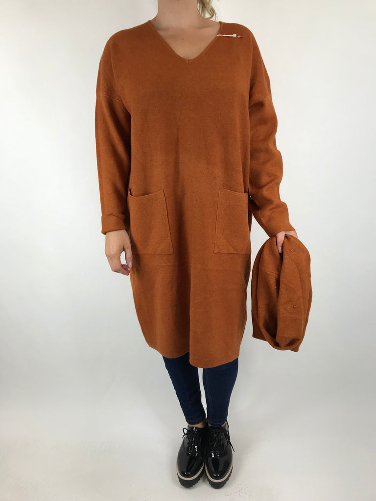 Lagenlook Molly Snood knit in Rust. code 6002