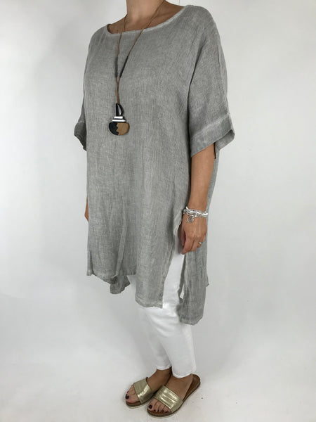 Lagenlook Alto Linen Top in Grey. code 5773