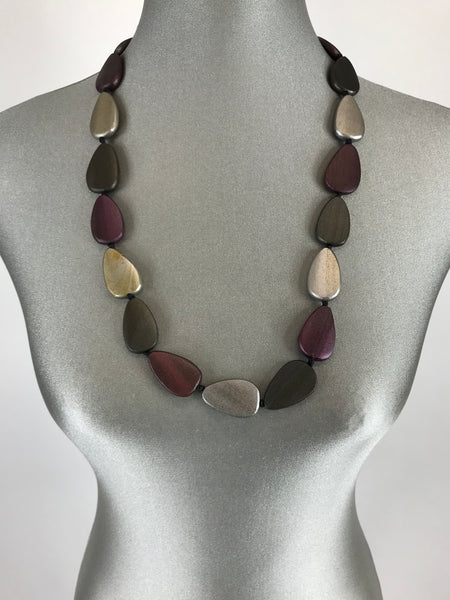 Lagenlook Wooden purple and silver Pebble Necklace. code FB1800