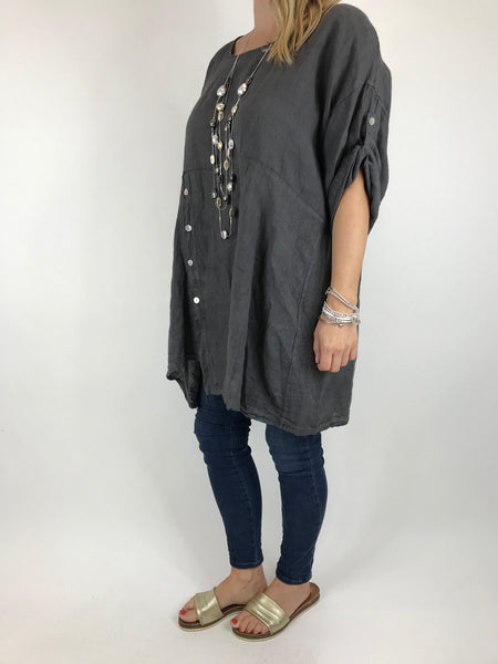 Lagenlook Lydia button Top in Charcoal. code 5711