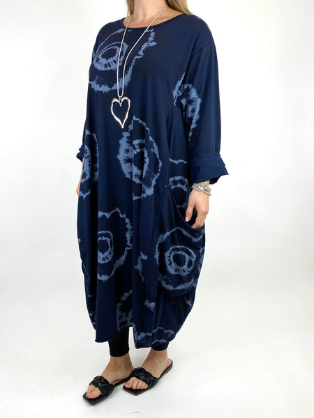 Lagenlook Celeste Tie-dye Side Pocket Tunic in Navy .code 9904
