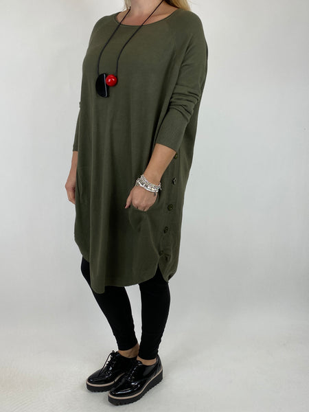 Lagenlook Amelie Button Side Jumper in Khaki. code 2560 - Lagenlook Clothing UK