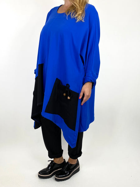 Lagenlook Sammy Jersey Bead Top in Royal Blue. code 910881 - Lagenlook Clothing UK