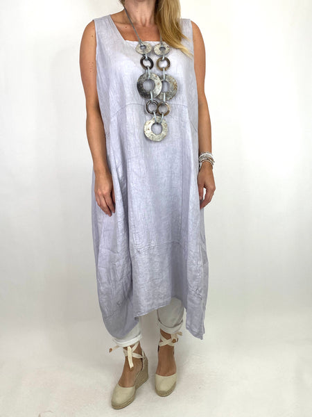 Lagenlook Bella Linen Square neck tunic in Pale Grey. code 8262