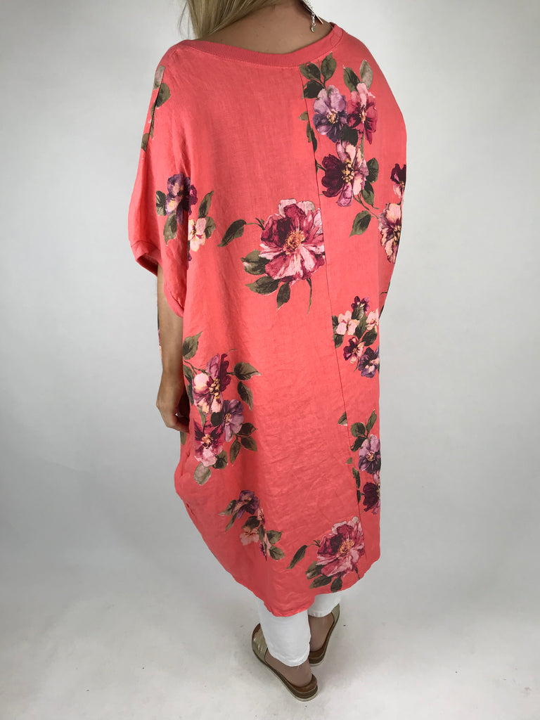 Lagenlook Nikki Summer Flower Tunic in Coral. code 9618 - Lagenlook Clothing UK
