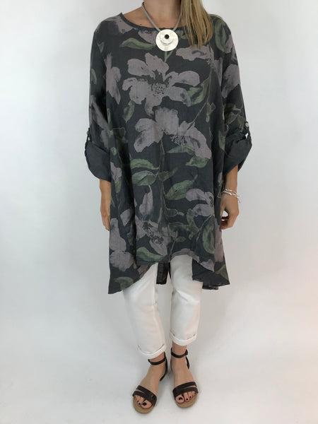 Lagenlook Flower Button back tunic in Charcoal. Code 5641