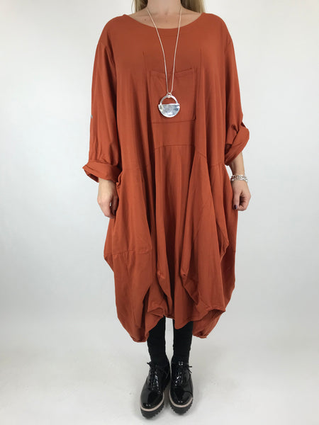 Lagenlook Cotton Blend Parachute shaped hem in Rust. code 9480