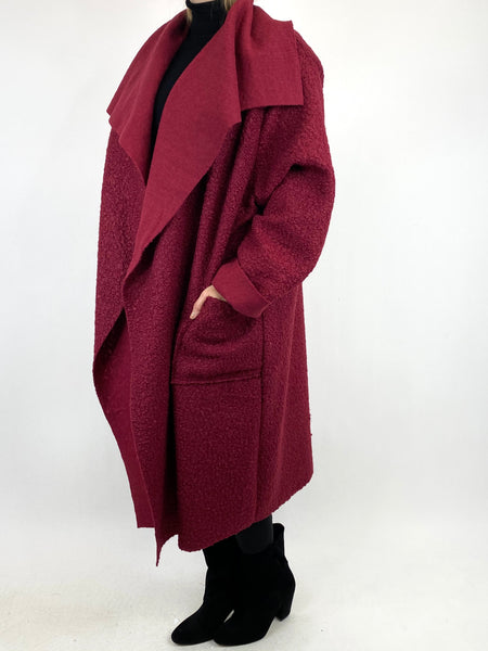 Lagenlook Waterfall Boucle Coat in Wine. code 6360