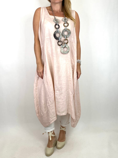Lagenlook Bella Linen Square neck tunic in Pale Pink. code 8262 - Lagenlook Clothing UK