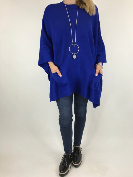 Lagenlook Button Side Poncho Jumper in Royal Blue. code 5922