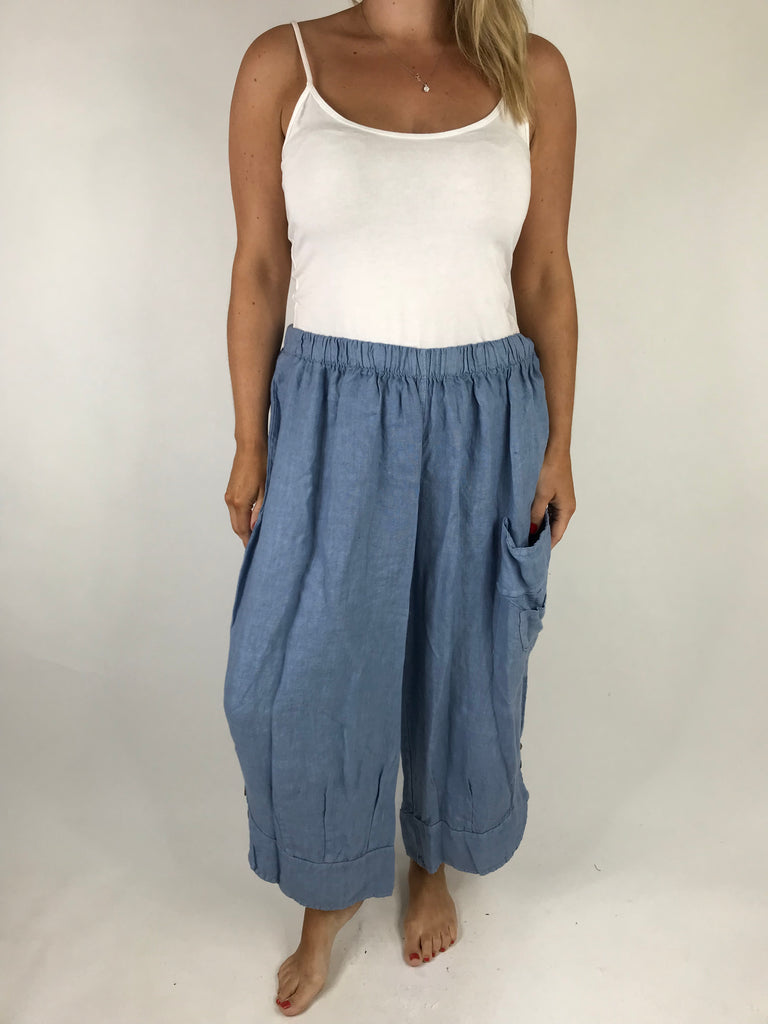 Lagenlook Cropped Linen Trouser in Denim Blue. code 5229
