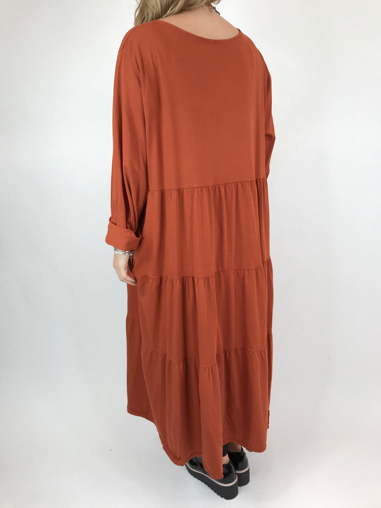 Lagenlook Evie Plain Tunic In Rust. code p9788