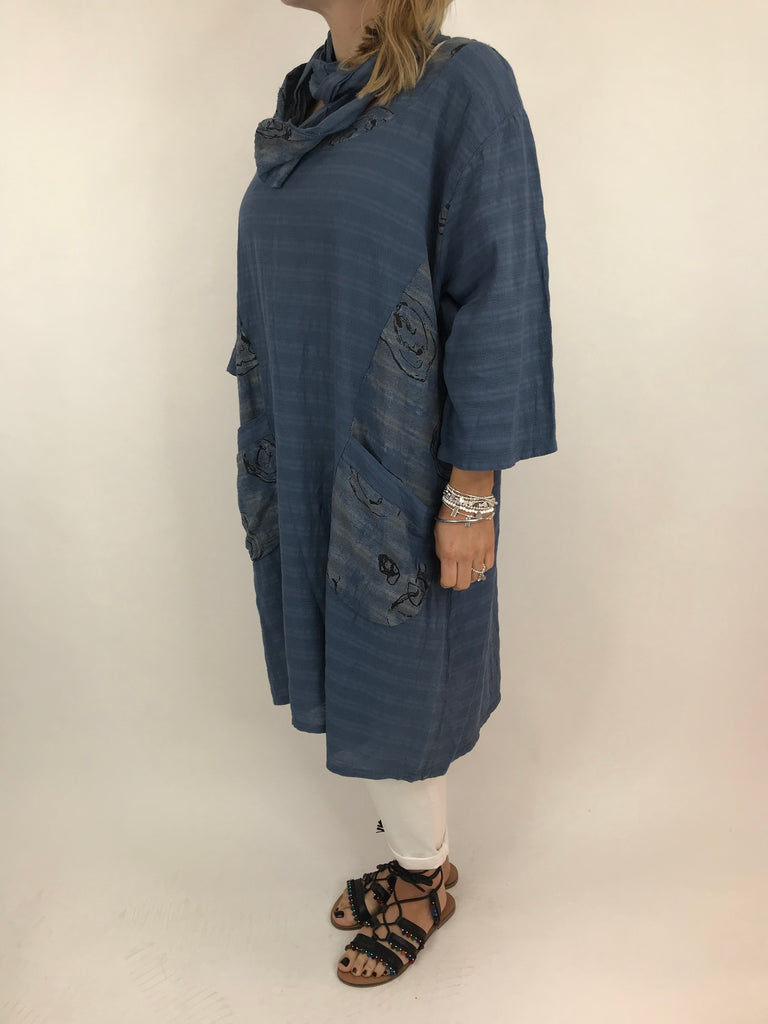 Lagenlook Julia Cotton Scarf Top in Denim. code 90850