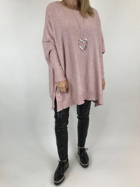 Lagenlook Monty Button Side Jumper in Pale Pink. code 6020
