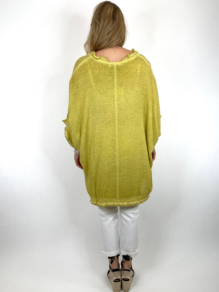 Lagenlook Marie Washed Fray Hem top in Yellow. code 10322