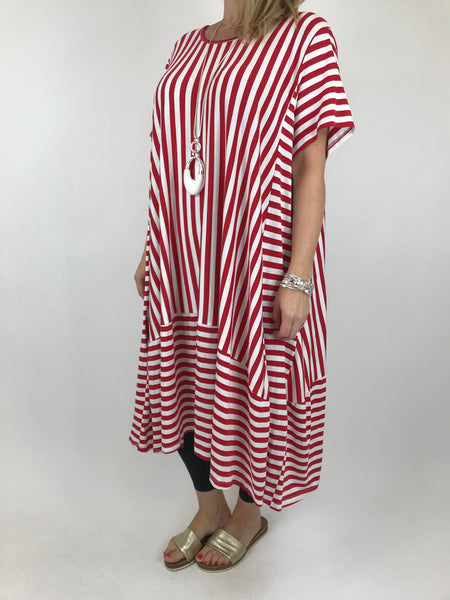 Lagenlook Emma Jersey Stripe Tunic in Red. code Ab668