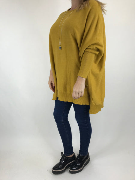 Lagenlook Monty Button Side Jumper in Mustard. code 6020