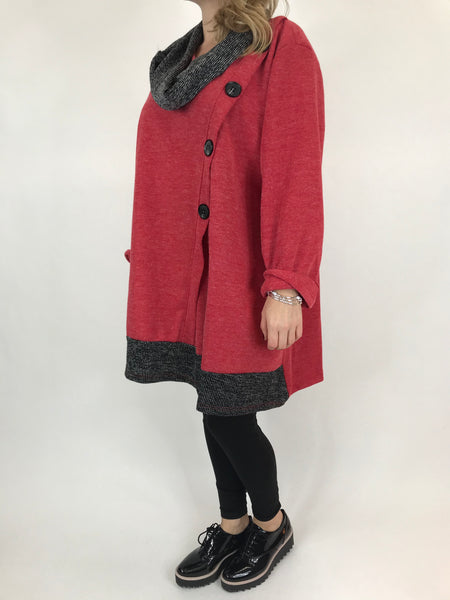 Lagenlook Flo Snood 2 piece button asymmetric in Red. code 10218