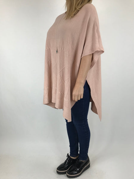 Lagenlook Cable Poncho Jumper in Winter Pink. code 5939