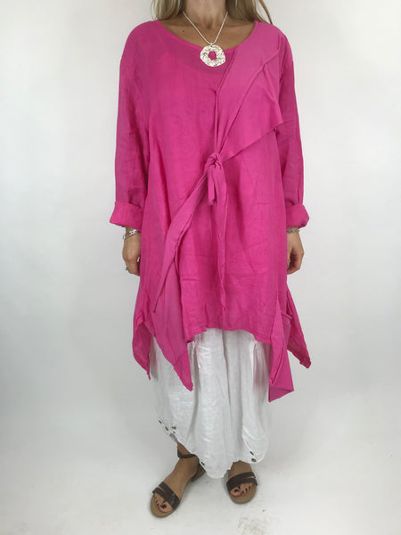 Lagenlook  Linen Quirky Tie Front Top in fuchsia Pink. code 5670