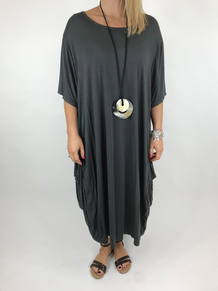 Lagenlook Shaped Jersey tunic in Charcoal. code 5668