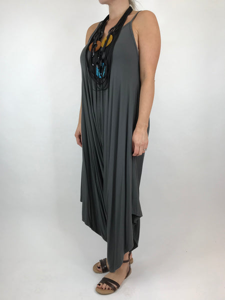 Lagenlook Ruby Jersey Jumpsuit in Charcoal Grey. code 1540