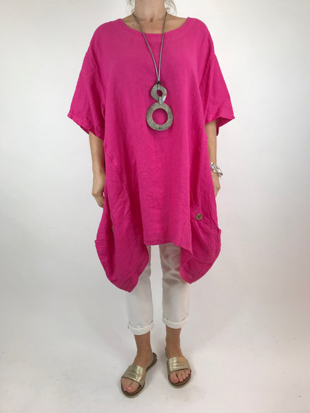 Lagenlook Etta Linen Button Pocket Top in Fuchsia. Code 90247