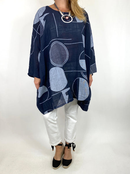 Lagenlook Camilla Patterned Top in Navy. code 91007
