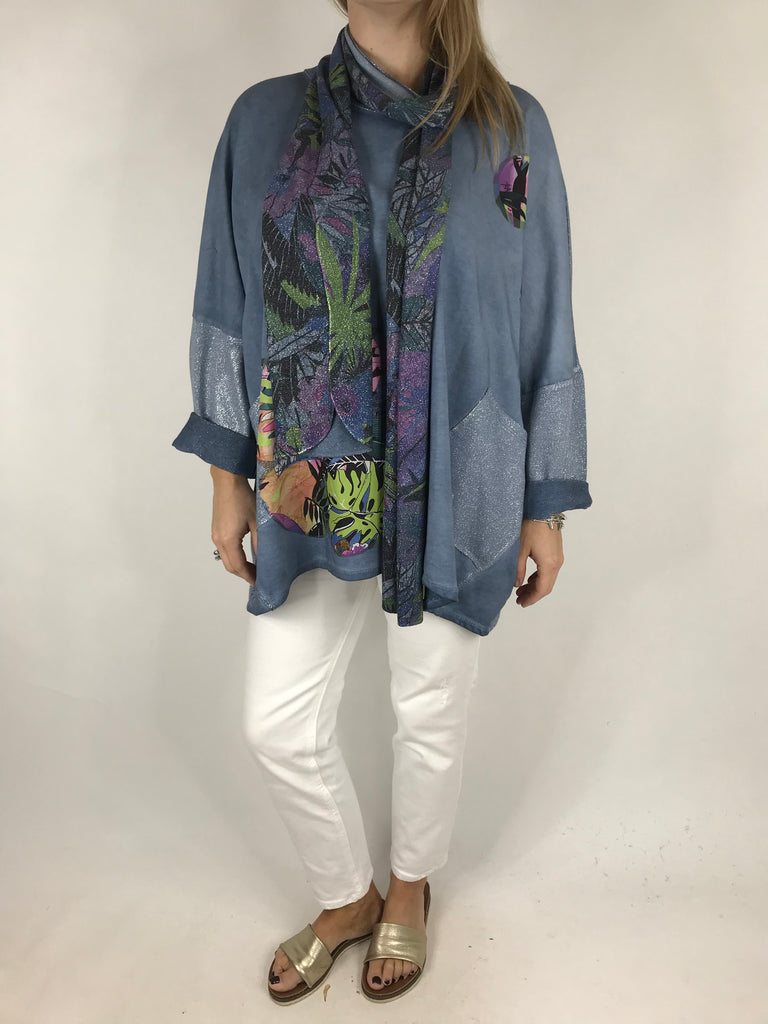 Lagenlook Tropics Scarf  Sweatshirt Top in Blue. code 6972