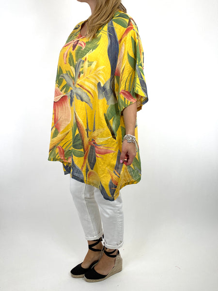Lagenlook Solis Tropical Flower Top in Yellow. code 90645