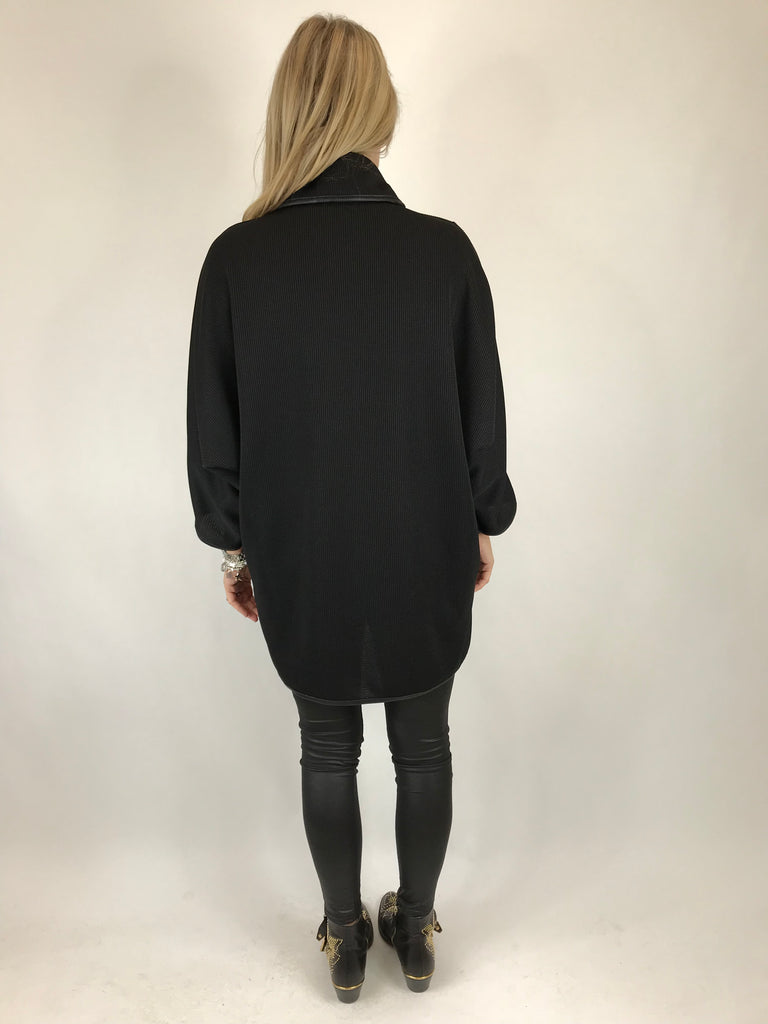 Lagenlook Peggy Made In Italy Cardi-Coat in Black. code 5460