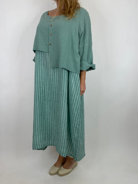 Lagenlook Lucy Stripe Over tank Tunic in Sage. Code 88213