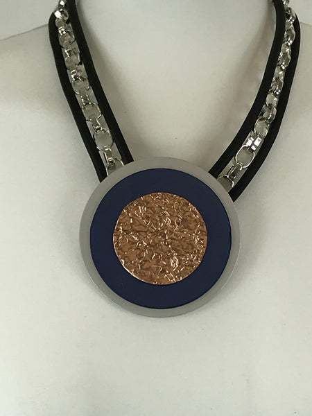 Lagenlook Blue & Bronze Short Necklace code JYD28061