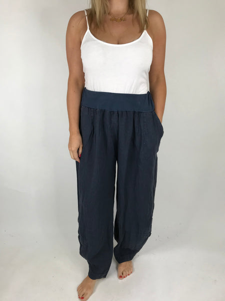 Lagenlook Hetty Button Linen Trousers in Navy. code 5028