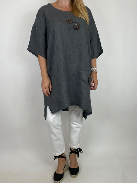 Lagenlook Bea Linen Top In Charcoal. code 9782