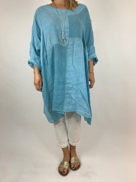 Lagenlook Mia Linen Top in Aqua .code 5733